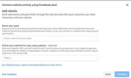 connect website activity using facebook pixel
